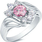 925 Sterling Silver Round Pink Clear CZ Engagement Wedding Love Ring Size 3-11