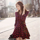 2016 New Fashion  Women's Long Sleeve Check Plaid Skirt Slim Grid Shirts Dress