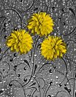 Bathroom Yellow Gray Wall Pictures, Yellow Gray Floral Home Decor Wall Art