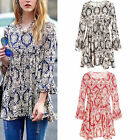 New Women Floral Print Loose Ruffle Sleeve T-shirt Crew Neck Tops Blouse Jumper
