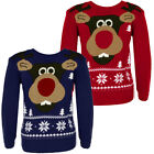 Boys Snowflake Reindeer Print Christmas Xmas Knitted Jumpers Boys Girls Size