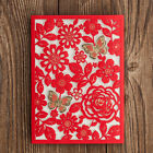 Red Wedding Invitations Gold Butterfly Personlize Laser Cut, Envelopes,Seals