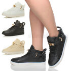 WOMENS LADIES LACE UP FLAT GOLD BELT STRAP HIGH HI TOP ANKLE BOOTS TRAINERS SIZE