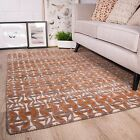 Ginger Grey Orange Terracotta Colour Pattern Living Room 100% Wool Woollen Rug