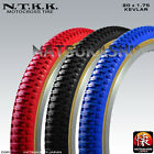 "NTKK *PAIR* 20 x 1.75 ""Snakebelly"" Old School BMX Tires Black Blue Red"