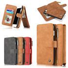 Vintage Genuine Leather Zipper Wallet Case For Apple iPhone 7 / iPhone 7 Plus
