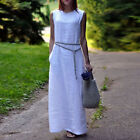 Women Sexy Cotton Linen Sleeveless Party Summer Boho Maxi Long Flax Shirt Dress