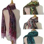 Cotton Flower Design Scarf Shawl Colourful Floral Paisley Long Wrap