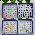 18 Pairs Mix Plastic Cute Small Earrings Ear Stud With Box Women MIni Jewelry