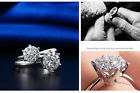 18k White Gold Filled in Silver Women Wedding Bridal Engagement Ring R10