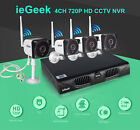 Wireless CCTV 4CH NVR 4PCS Outdoor IP Camera Home Security System Kit UK STOCK