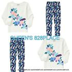 NWT Crazy 8 girls 3 3T  Blue Pink flower  Top Leggings Pants Outfit 2pc Set New
