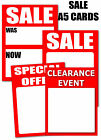 Sale A5 Write on cards for shops,retailers and market traders you choose
