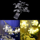 Solar Snowflake 20LED String Light For Christmas Party Wedding Decorations AU