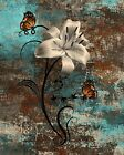 Teal Brown Lily Flower Butterfly Decor, Modern Bedroom Bathroom Wall Art Picture