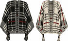 Womens Knitted Poncho Cape Ladies Checked Print Sleeveless Wrap Top New 8-26