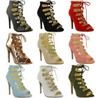New Ladies Womens High Heel Stiletto Caged Sandals Lace Up Gladiator Shoes Size