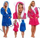 Ladies HOODED FLEECE Dressing Gown LUXURY FLUFFY Robe SHORT Quilted Blue Pink