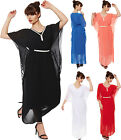 New Womens Diamante Belted Chiffon Lined Sheer Batwing Party Dress Ladies Kaftan