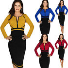 NEW Celebrity Womens Business Formal Long Sleeve Lady Bodycon Pencil Dress S-4XL