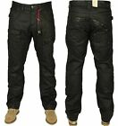 MENS NEW JEANS ETO EM510 IN BLACK COATED DESIGNER STRAIGHT LEG SALE 28 - 42