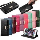 For Apple iPhone 7 & Plus Premium Crocodile Leather Wallet Case View Stand Cover