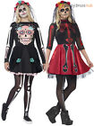 Ladies Day of the Dead Costume Adult Skeleton Halloween Fancy Dress Womens Outfi