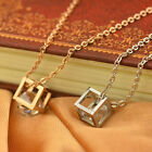 Stainless Steel Rose Gold Square Crystal Pendant Chain Necklace Fashion Jewelry