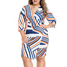 STO Women's Plus Size 3/4-Sleeve Colorful Striped Print Bodycon OL Pencil Dress
