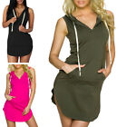 STO Women Casual Sport Sweat Shirt Hoodie Bodycon Mini Dress V Neck Sleeveless