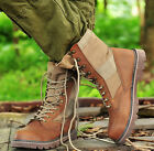 New Men European Desert lace up leather boots combat military high tooling boots