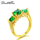 Elegant Green Emerald Cubic Zirconia Ring 18K Yellow Gold Plated Rings For Women