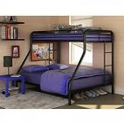 Metal Bunk Bed Twin Over Full Teens Home Bedroom Furniture Ladder Black
