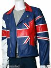 Blue cowhide Motorbike Leather Biker Jacket Motorcycle Protection ALL-SIZE
