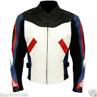 BMW blue and white cowhide Motorbike Leather Motorcycle Racing Jacket ALL-SIZE