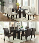 7PC White Espresso Diamond Tufting Soft Cushion Seat Dark Brown Table Dining Set