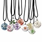 Exquisite Handmade Crystal Glass Ball Dry Flower Necklace Leather Chain Pendant