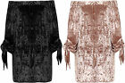 Womens Plus Crushed Velour Boho Top Ladies Bardot Off Shoulder Long Bell Sleeve