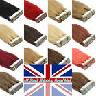 """16""""18""""20"""" 22"""" 24"""" Tape In Weft 100% Remy Human Hair Extensions Top Grade UK Ship"""