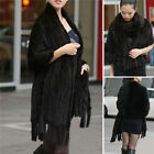 100% Real Easy Match Warm Knitted Mink Fur Stole Cape Luxury Shawl Women Coat