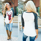 Women XMAS Casual T-Shirt Pullover Christmas Reindeer Long Sleeve Tops Blouse