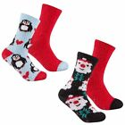 4 Pack Womens Cosy Socks Ladies Christmas Novelty Lounge Slipper Gripper Socks