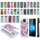For Microsoft Nokia Lumia 650 Anti Shock Bling HYBRID Case Phone Cover + Pen