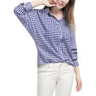 Women Single Breasted Batwing Sleeves Gingham Shirt