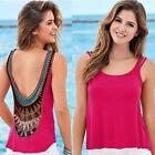 Sexy Women Backless Vest Shirt Boho Sleeveless Summer Beach Tank Tops Blouse