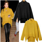 Womens Long Sleeve Turtleneck Knitted Sweater Oversized Pullover Jumper Tops