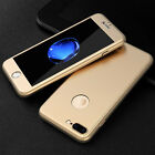 Luxury Slim 360° Shockproof Case Hard Tempered Golass Cover For iPhone 7 6s Plus
