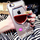Liquid Bling Diamond Red Wineglass Hard Clear Case Cover for iPhone 6/6S/7 Plus