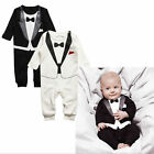 Newborn Boy Baby Formal Suit Tuxedo Romper Pants Jumpsuit Gentleman Clothes Set