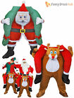 Adult Piggy Back Reindeer Costume Mens Novelty Christmas Fancy Dress Xmas Outfit